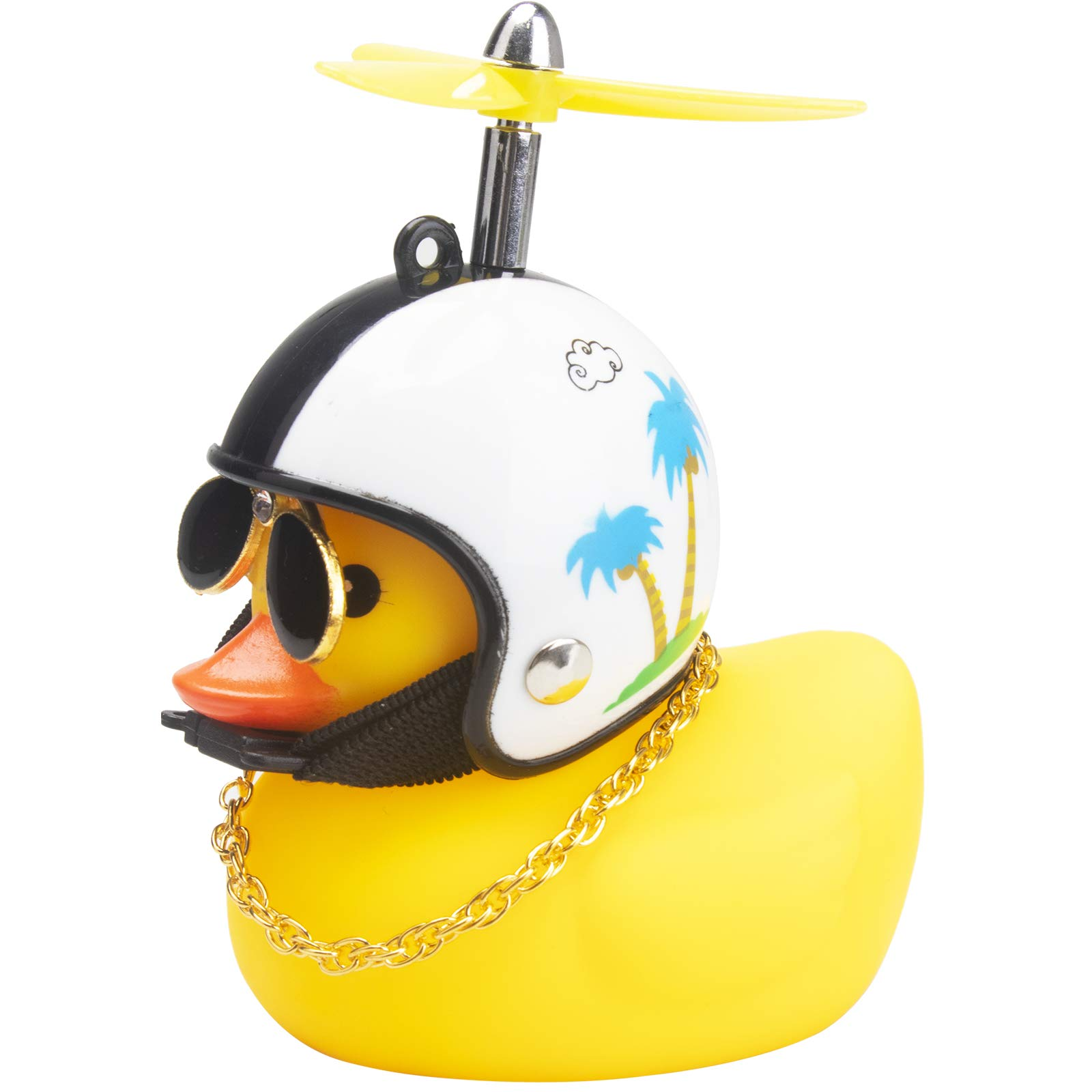 wonuu Rubber Duck Toy Car Ornaments Yellow Duck Car Dashboard Decorations Cool Glasses Duck with Propeller Helmet (Coconut Tree-Yellow)