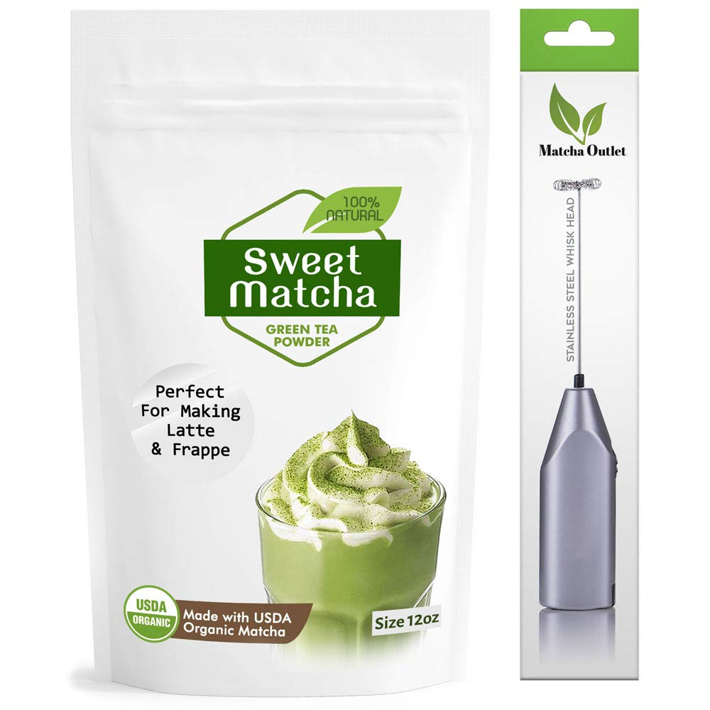 Sweet Matcha Latte Green Tea Powder Japanese Mix 12oz with Electric Milk Frother