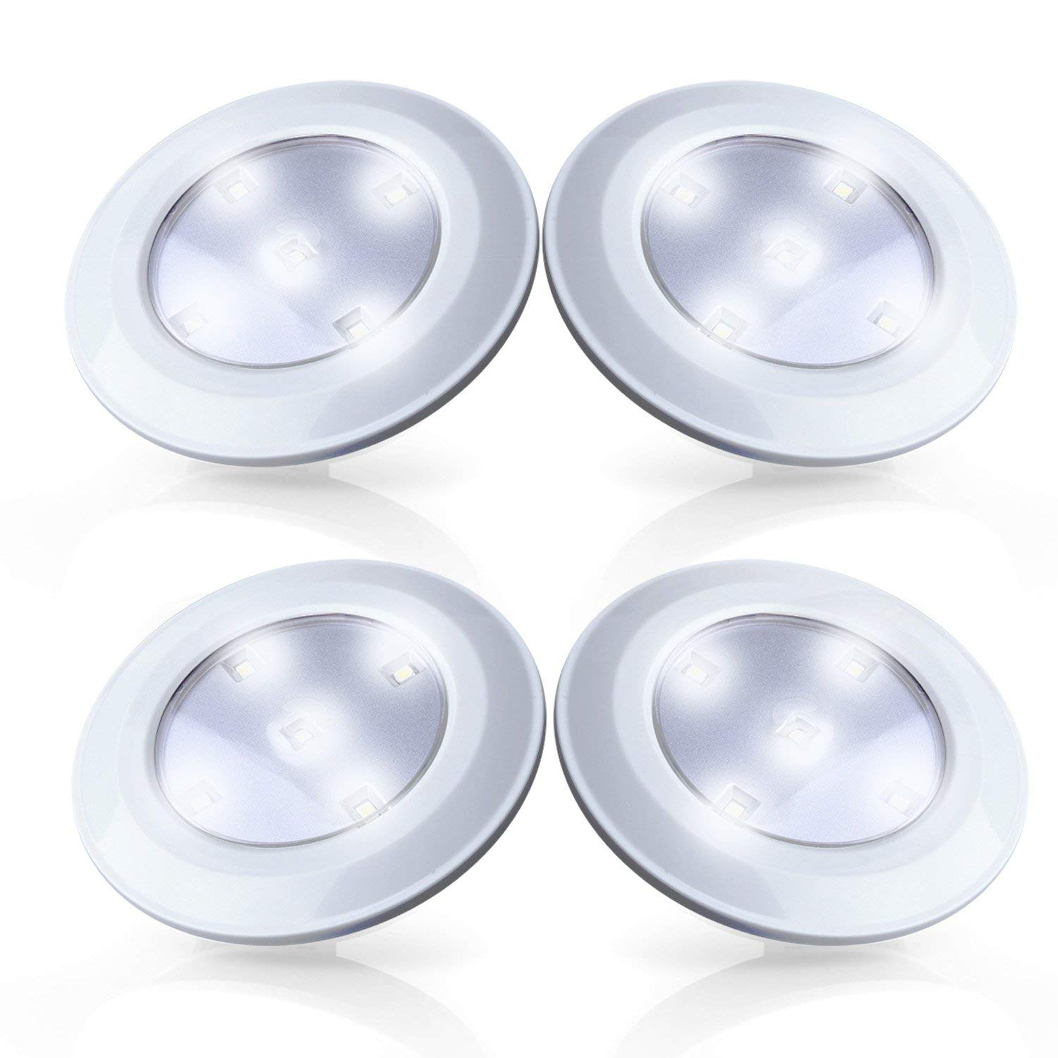 Tap Lights 4 Pack LED Battery Operated Stick On Lights Wireless Closets Cabinets Cupboards Lights Puck Lights, White