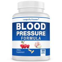Longevity Blood Pressure Formula [100 Capsules] - with 12+ Natural Herbs. Best Blood Pressure Supplement