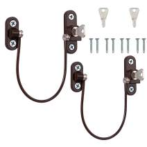 Kamtop Window Restrictor Locks 2 Packs Security Cable for Child Baby Safety Window Locks Door Locks with Screws Keys Brown