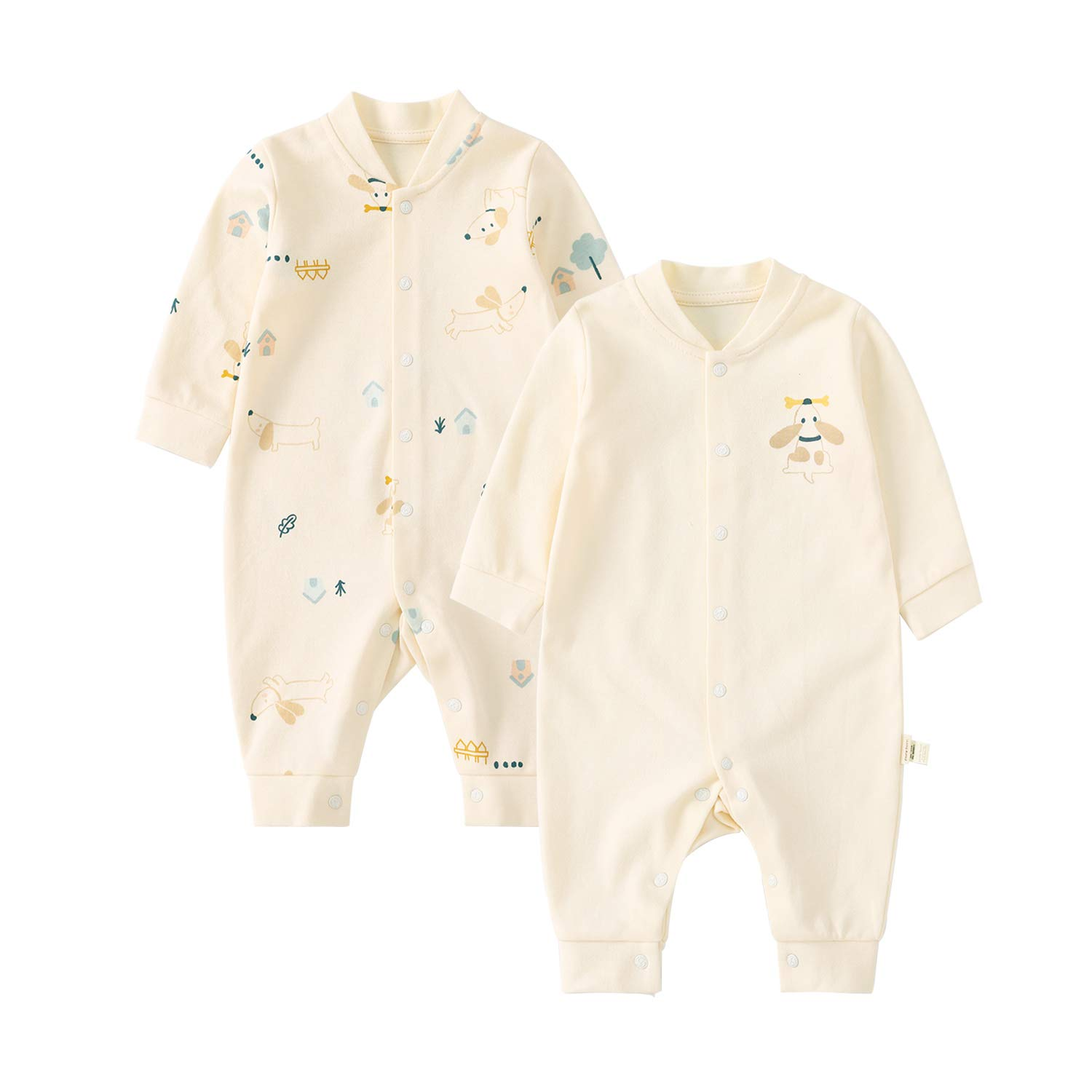 pureborn 2-Pack Baby Cotton Cute Long Sleeve Jumpsuit Snap Front Coveralls