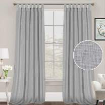 FantasDecor Linen Curtains Natural Linen Blended Curtains Tab Top Curtains Privacy Added Window Treatments Drapes for Living Room Light Filtering Curtains 2 Panels, 52 by 108 Inches, Dove Gray