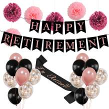 Retirement Party Decorations for Women  Rose Gold HAPPY RETIREMENT Banner Bunting, I'm Retired Sash,Tissue Paper Cute Pom Poms,Black and Rose Gold Balloons Retirement Decoration Supplies  Ideal Retirement Gifts for Women