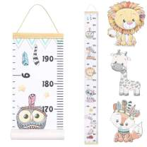 JJGoo Baby Growth Chart Hanging Ruler Wall Decor, Wood Frame Fabric Canvas Removable Height Measurement Ruler Wall Height Growth Chart for Kids Toddlers and Babies(Animal Pattern)