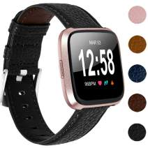 IMPAWFAN Leather Bands Compatible with Fitbit Versa 2/ Fitbit Versa/Fitbit Versa Lite for Women Men, Classic Leather Watch Bands Replacement Strap, Wristband for Fitbit Versa Smartwatch-Black