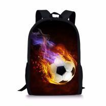 CHAQLIN Black Mens Backpacks Football Printed Bags for Teenager Boys Girls