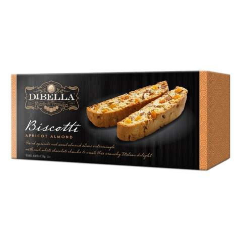 Dibella Biscotti Cookies – Authentic Italian Biscotti, Apricot Almond, 12-Count – Gourmet Cantuccini Biscotti – Rich Flavor – Crunchy Outside with Silky Middle – Classic Italian Biscotti