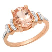 Dazzlingrock Collection 14K 9X7 MM Oval Gemstone & Round White Diamond Ladies Bridal Engagement Ring, Rose Gold