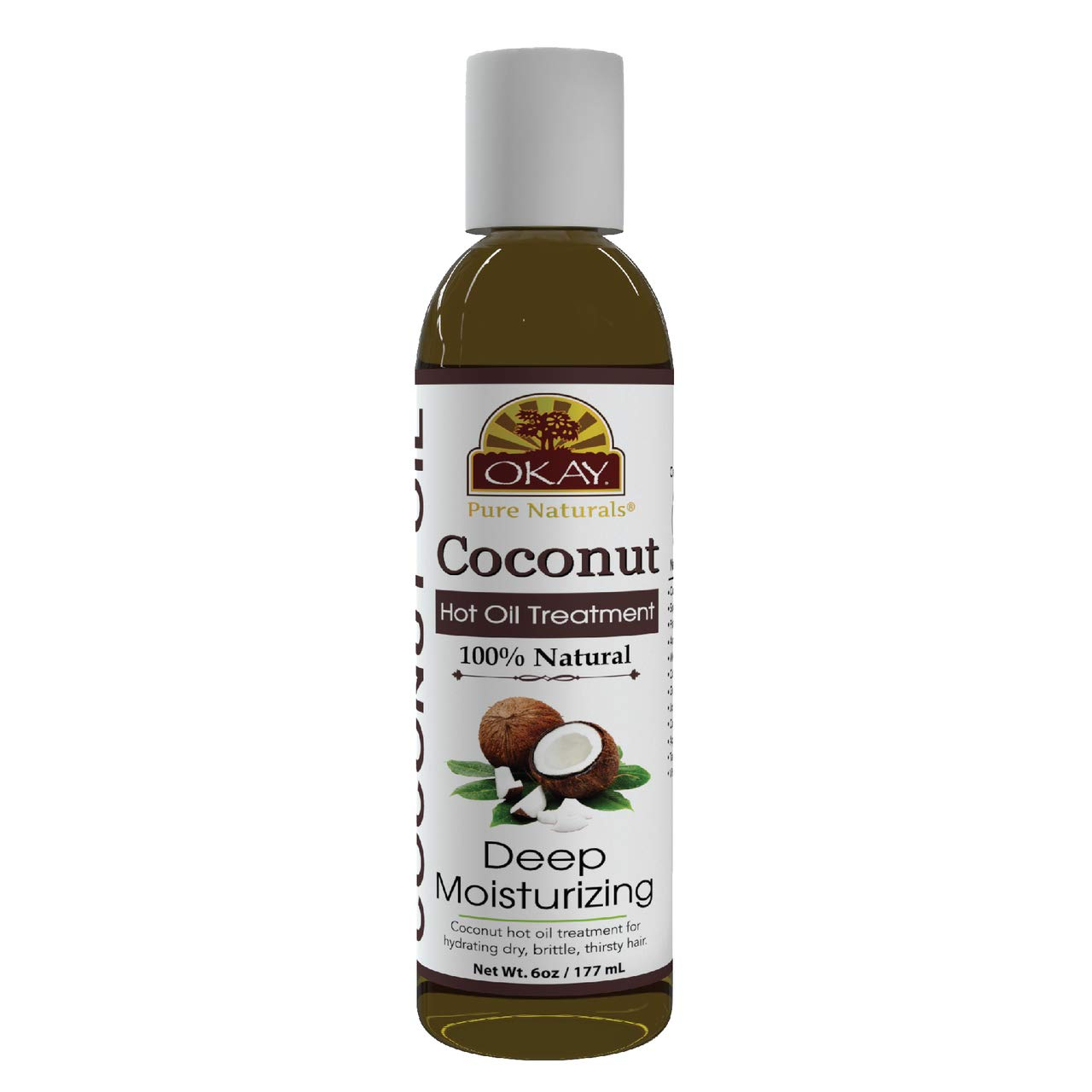 OKAY   Coconut Hot Oil Treatment   For All Hair Types & Textures   Deeply Penetrating   100% Natural   Free of Paraben, Silicone   6 oz