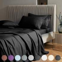 """SAKIAO Twin Size Bed Sheets Set - Brushed Microfiber 1800 Thread Count Percale - 16"""" Deep Pocket Egyptian Sheets Beautiful Breathable Wrinkle Free & Fade Resistant - 3 Piece (Black,Twin)"""