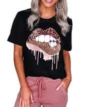 Mansy Womens Red Lips Leopard Print Tongue T-Shirts Summer Cute Short Sleeve Cheetah Animal Print Graphic Tees Tops