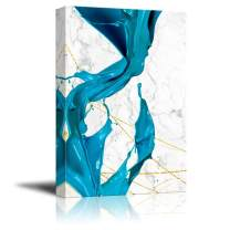 wall26 - Canvas Wall Art - Abstract Blue Acrylic Paint Splash - Giclee Print Gallery Wrap Modern Home Decor Ready to Hang - 16x24 inches