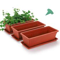 GROWNEER 3 Packs 15 Inches Terracotta Color Flower Window Box Plastic Vegetable Planters with 15 Pcs Plant Labels, for Windowsill, Patio, Garden, Home Décor, Porch