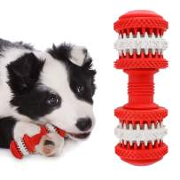 Dog Toothbrush Natural Rubber Teeth Massage Puppy Teeth Brushing Toy Daily Tooth Cleaner Pet Food Treats Feeder for Medium Large Dogs Dental Care Fights Bad Pet Breath & Tartar, Red,L