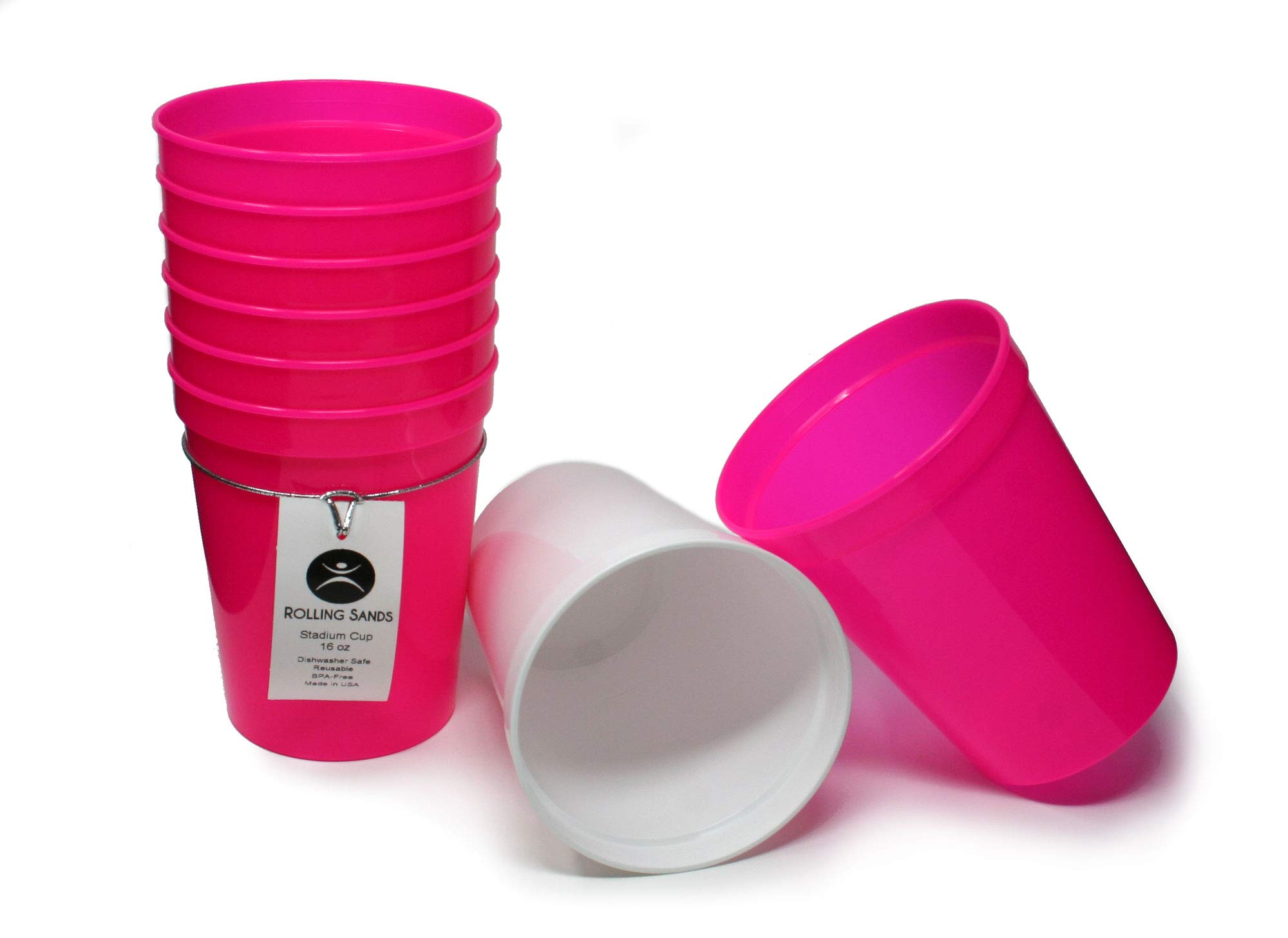 Rolling Sands 16 Ounce Reusable Plastic Stadium Cups Bachelorette Party, 8 Pack, Made in USA, BPA-Free Dishwasher Safe Plastic Tumblers