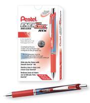 Pentel EnerGel Deluxe RTX Retractable Liquid Gel Pen, Medium Line, Needle Tip, Red Ink, Box of 12 (BLN77-B)