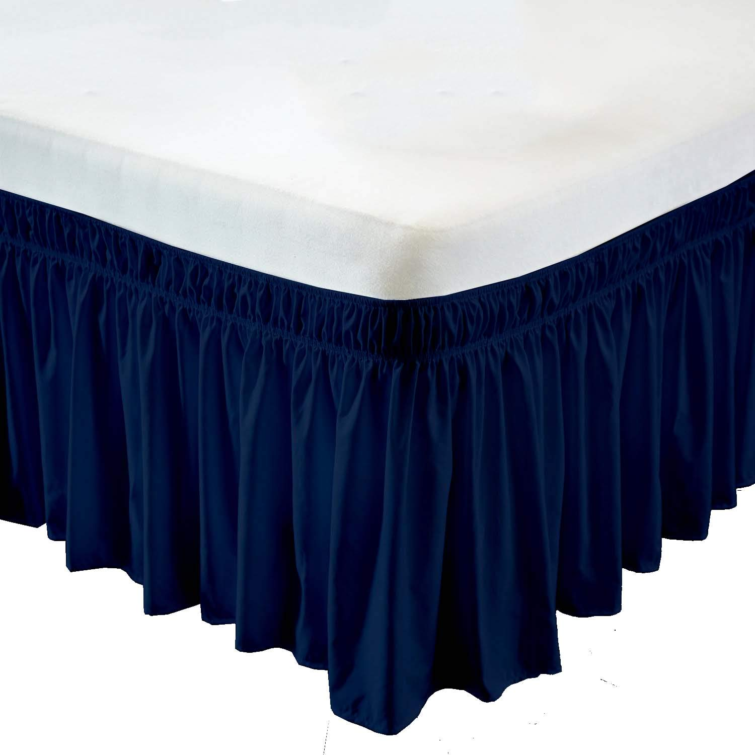 Wrap Around Bed Skirt- 12 Inch Drop Length Style Easy Fit Elastic Bed Ruffles Bed-Skirt Wrinkle Free Bed Skirt - Navy Blue, Queen in All Bed Sizes and Colors