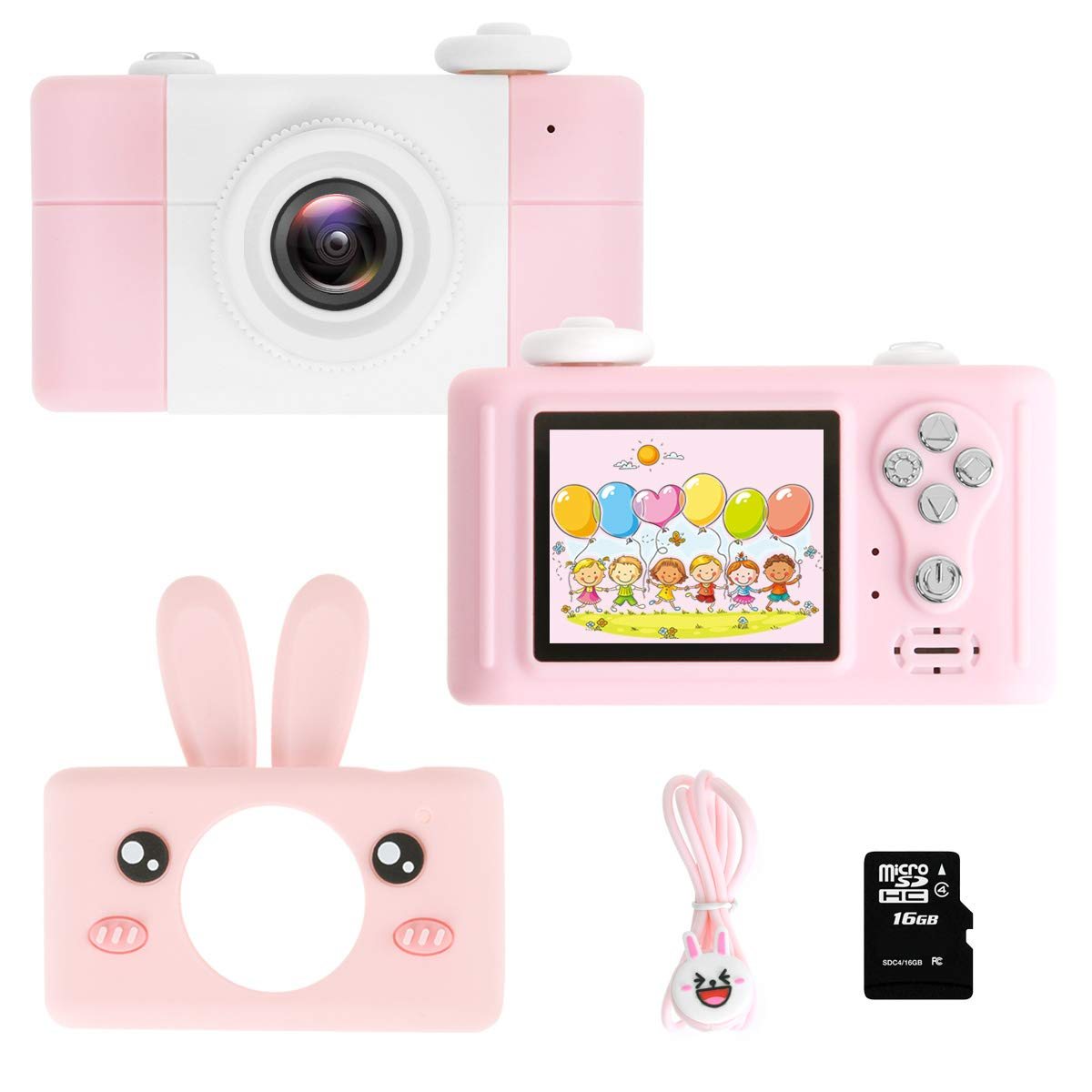 GZMWON Gift Kids Camera, Digital Video Camera for Children's Cartoon Toy Camera 8.0MP 2 Inch HD Screen, Shockproof Compact Camera for 3-10 Girls Boys 16GB TF Card-Pink Rabbit