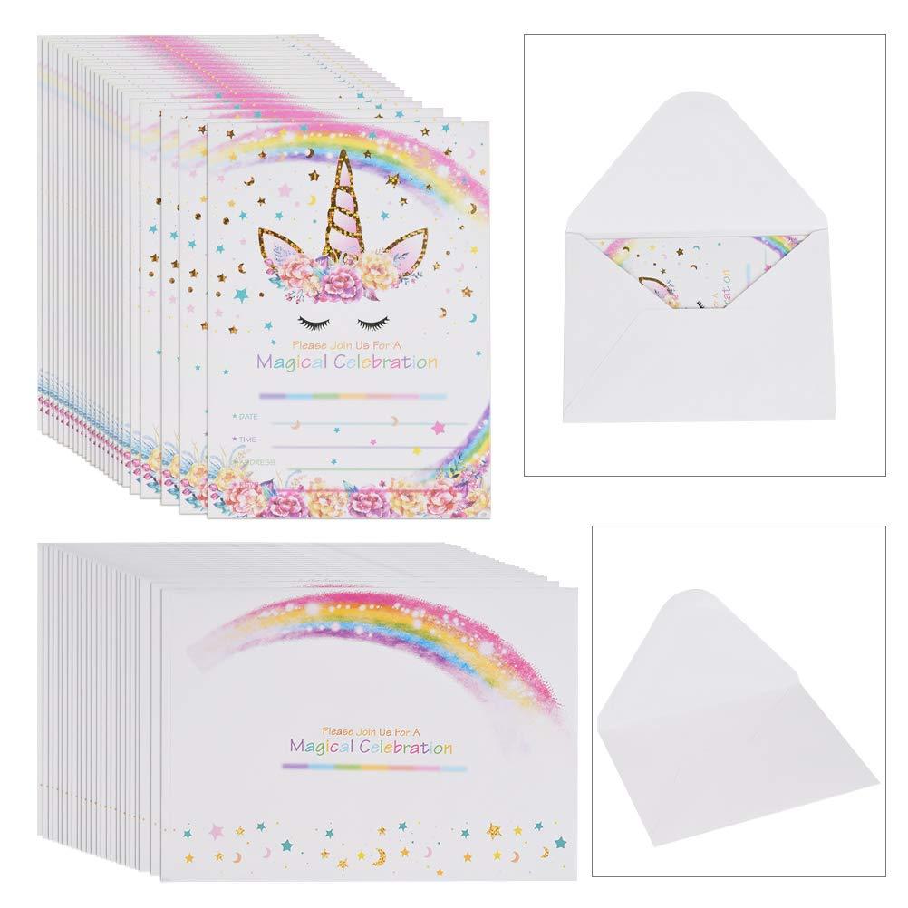 YANSHON 24 Pack Magical Unicorn Invitations, Watercolor Rainbow Unicorn Invitation Card with Envelope, Unicorn Thank You Cards Gifts Invitation Card for Kids Birthday Baby Shower
