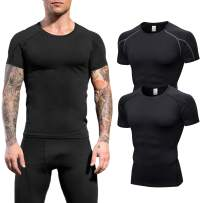 LEICHR Men's Compression Short Sleeve Shirts Sports Baselayer Cool Dry Workout Shirts