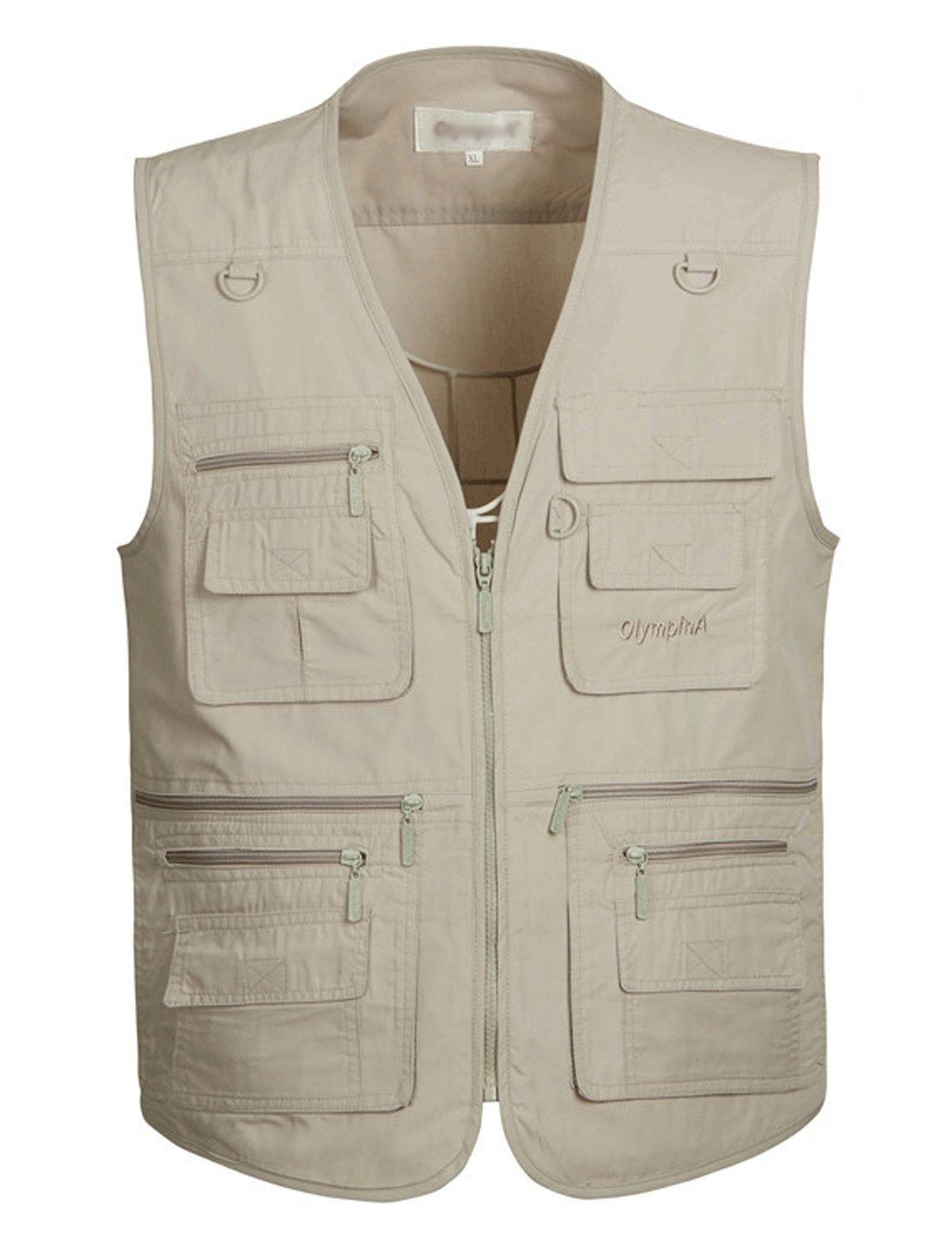 Yimoon Men's Travel Safari Vest Summer Outdoor Pockets Photo Utility Fishing Vest