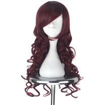 Miss U Hair Women Cute Long Curly Party Cosplay Costume Wig Halloween Burgundy Hair