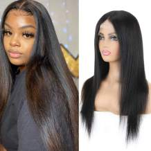 Transparent Lace Front Human Hair Wig - 13x6 T Part Straight Human Hair Wig Yuyongtai 8A Peruvian Virgin Straight Human Hair Wigs for Black Women 150% Density Natural Color 22 Inch