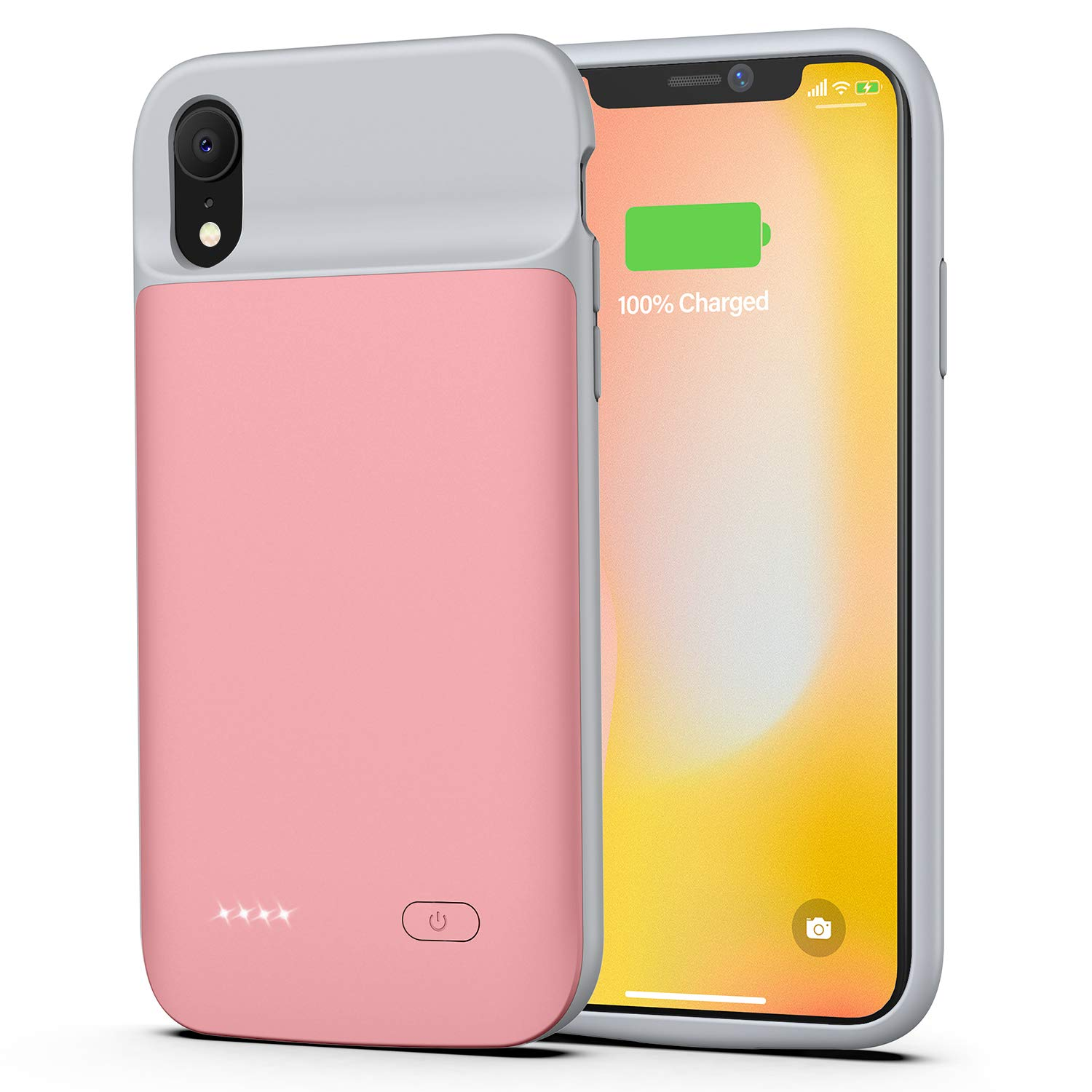 Lonlif Battery case for iPhone XR, 5000mAh Charging Case Rechargeable Charger Case for iPhone XR (Rose Gold)