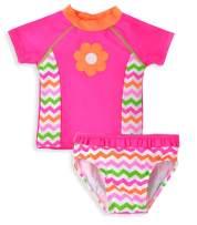 kavkas Baby Girl Bathing Suit Cute 2 Piece Swimsuit with Short Sleeve Rash Guard Ruffle Swimwear Sets (12M-6T)