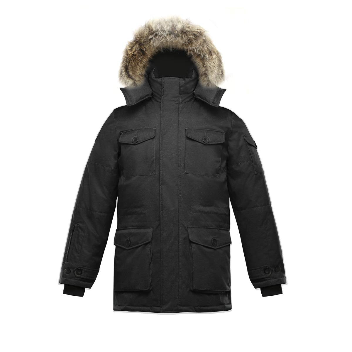 Triple F.A.T. Goose SAGA Collection   Eldridge Mens Hooded Goose Down Jacket Parka with Real Coyote Fur
