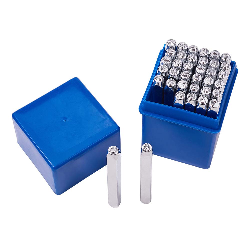 36 Pcs Metal Stamp Set Letter and Number Punch 1//4 inch 6mm Alphabet A-Z and Number 0-9 and Symbol Stamps Punch Press Tool for Imprinting on Metal Jewelry Leather Wood