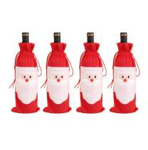 Amberetech 4pcs Santa Claus Christmas Red Wine Bottle Cover Bags Christmas Dinner Table Decoration