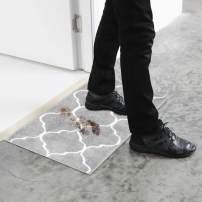 U'Artlines Doormat Absorbs Mud Resist Dirt Decorative Non Slip Inside Floor Mats Low-Profile Machine Washable Indoor Outdoor for Front Door Entryway Kitchen (17.7x47.2, Gray)