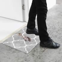 U'Artlines Doormat Absorbs Mud Resist Dirt Decorative Non Slip Inside Floor Mats Low-Profile Machine Washable Indoor Outdoor for Front Door Entryway Kitchen (17.7x25.6 2pcs Set, Gray)