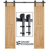 "SMARTSTANDARD 6.6FT Heavy Duty Double Door Sliding Barn Door Hardware Kit-Smoothly and Quietly-Easy to Install-Includes Step-by-Step Installation Instruction Fit 20"" Wide Door Panel(I Shape Hanger)"