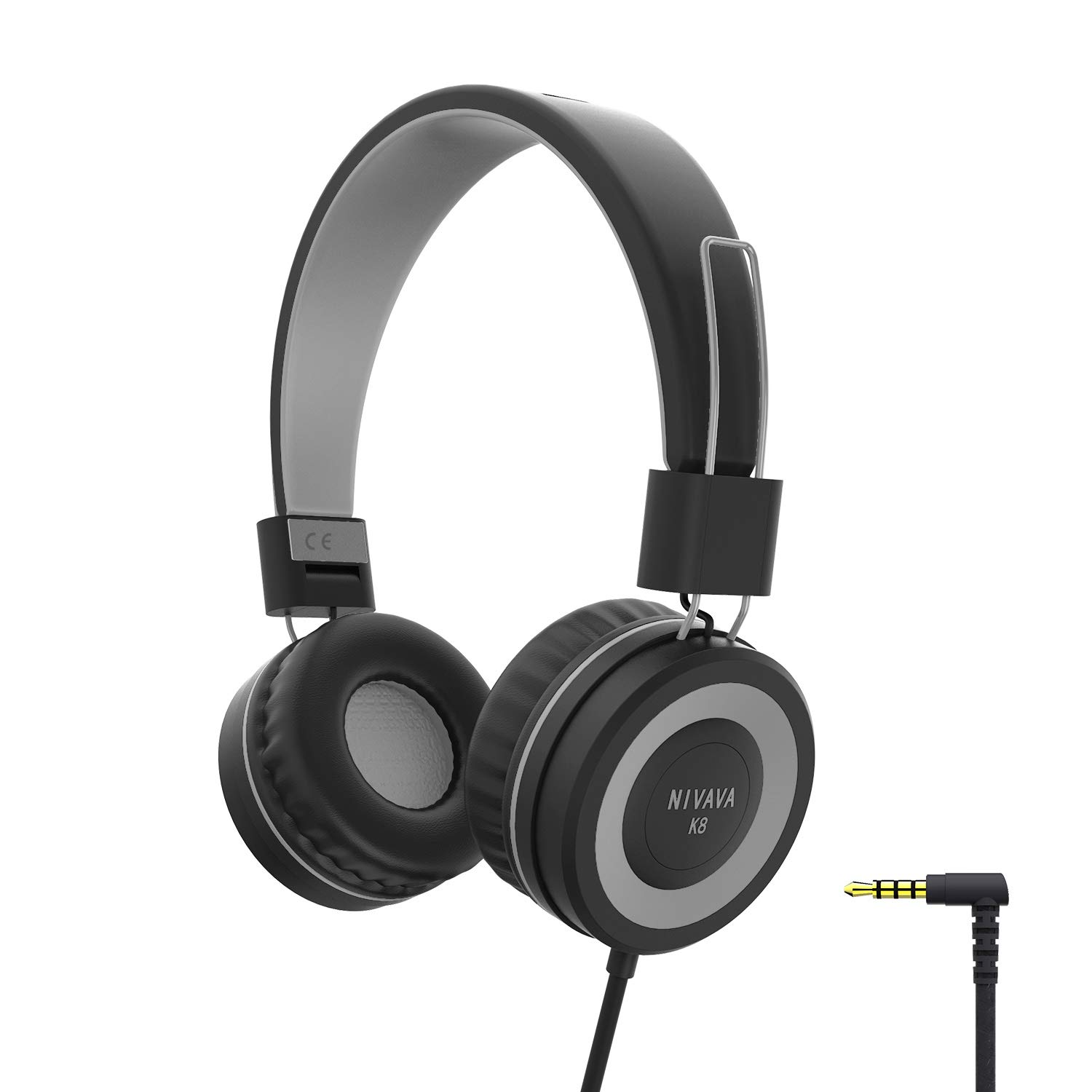 NIVAVA K8 Kids Headphones for Children Boys Girls Teens Wired Foldable Lightweight Stereo On Ear Headset for iPad Cellphones Computer MP3/4 Kindle Airplane School(Black&Gray )