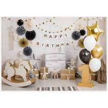 Allenjoy 7x5ft Happy 1st First Birthday Backdrop for Little Baby Cake Smash Photography One Year Old Pictures Background Photo Booth Studio Backdrops