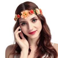 Drecode Rose Flower Crown Wedding Bridal Flower Wreath Headband Orange Hair Garland Bride Wedding Headpiece for Women and Girls