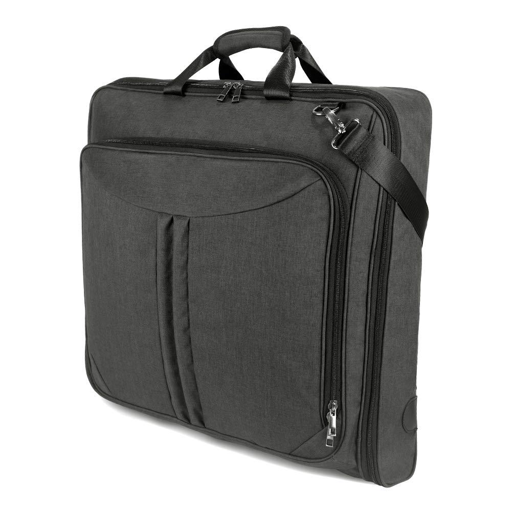 SUVOM Carry On Garment Bag for Travel & Business Trips with Shoulder Strap, Suit Bag Duffel Bag Weekend Bag Holdall for Men Women, Wrinkle Free for Shirts Dresses Coats (Black)