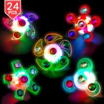 PROLOSO LED Rings Light Up Fidget Toys Glow in The Dark Party Favors Spiral Twister Toys Gyro Flashing Jewelry 24 Pcs