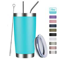 MEWAY 20oz Tumbler Cup Double Wall Vacuum Insulated Travel Mug Bulk, Stainless Steel Tumblers with Lid and Straw, Durable Powder Coated Coffee Cups for Cold & Hot Drinks (Light Blue, 1)