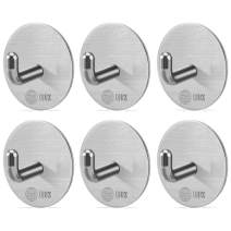 QJUZ Adhesive Hooks, Towels Hooks, Wall Hooks Heavy Duty SUS304 Stainless Steel Super Powerful Stick on Hooks, Bathroom Kitchen Organizer for Hanging Robes/Towels/Clothes/Hats/Keys (6Packs)