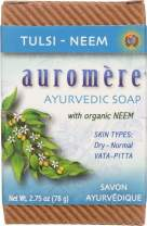 Ayurvedic Bar Soap Tulsi-Neem by Auromere - All Natural Handmade and Eco-friendly Bar Soap for Sensitive Skin - 2.75 oz (4 pack)