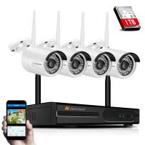 Jennov Wireless Security Camera System 4CH 1080P NVR Kit with Audio,4X 2.0MP Outdoor WiFi Home CCTV Surveillance IP Cameras,IP66 Waterproof Night Vision Remote Access Motion Detection