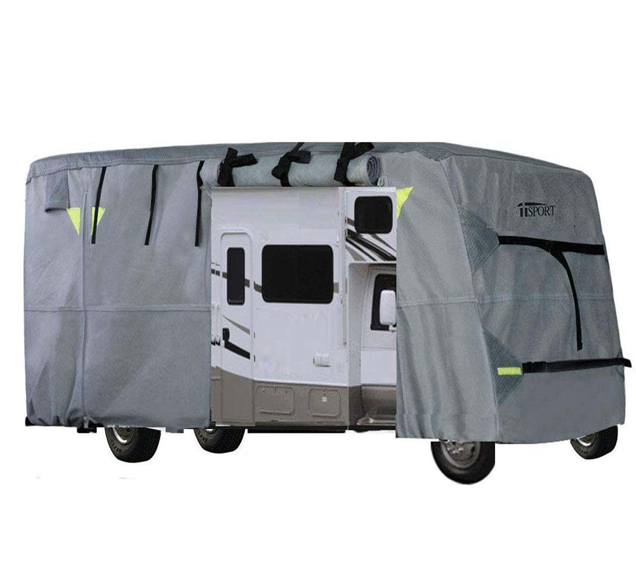 iiSPORT Class C Motorhome Cover Fits 23-26ft RVs Water Repellent RV Covers with Reflective Panels, Intergrated Strap Buckle, Multiple Zippered Panels for Easy Access to The Front, Back & Sides