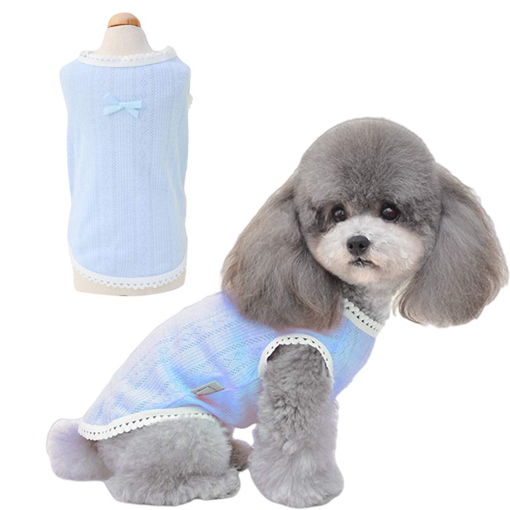 Petter Pet Clothes for Dog Cat Dog Shirt Pet Shirts Cotton Puppy Clothes Summer Dog Vest Cat Shirts Breathable Pet Apparel Dog Clothes for Small to Medium Dog (Blue, M)