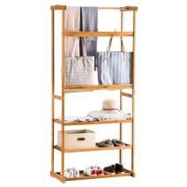 Teeker Bamboo Garment Rack,Heavy Duty Coat Rack with 3-Tier Shoe Rack,Hall Tree Entryway Bench Organizer,Coat Hanger Hat Racks with Hanger Wood Color