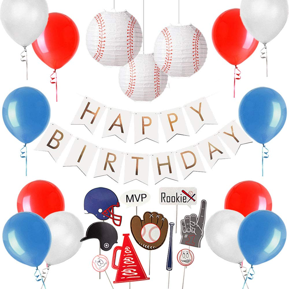 Baseball Themed Birthday Party Supplies, Baseball Photo Booth Props, Baseball Paper Lantern, Foil Gold Happy Birthday Banner, Sports Party Decorations, Easy Joy