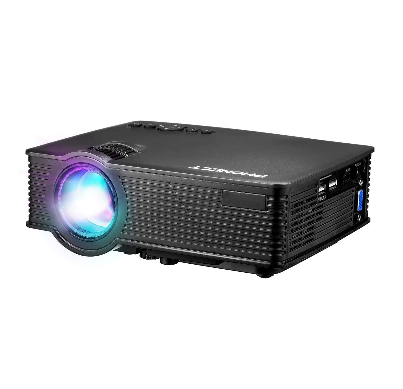 """Mini Projector 2019 Upgraded Portable Video Projector, 176"""" Display Multimedia Home Theater Projector, Compatible with Full HD 1080P HDMI,VGA,USB,AV,Laptop,Smartphone"""